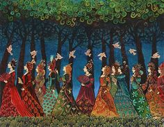 """""""Twelve Women with Birds"""" A print of the original acrylic painting by Emily Balivet, 2005"""
