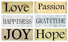 love, passion, happiness, gratitude, joy, hope