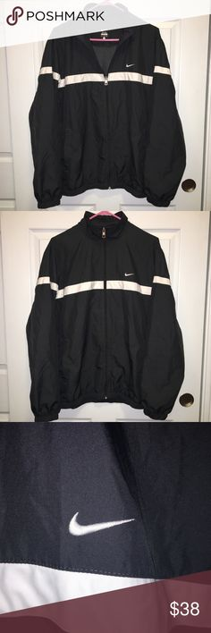 Nike Black/Dark Gray Windbreaker Nike Black/Gray Windbreaker in amazing condition! Black colored but has a gray undertone. Large in mens. Really great jacket for a great price! Feel free to ask questions in the comments! Nike Jackets & Coats