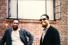 John Coltrane with Eric Dolphy outside Coltrane's home in Queens, c.1961
