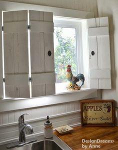 Whitewash shutters for kitchen window above sink.
