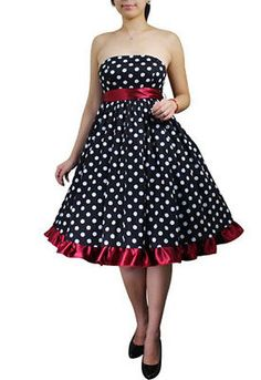 266f378a465 Plus Size Bowknot Polka Dot Black Red Rockabilly Pinup Dress