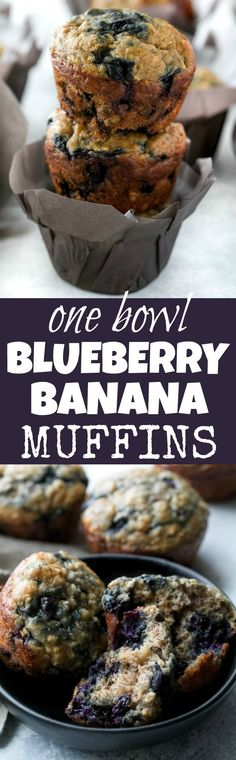 These blueberry banana oatmeal muffins are made with NO butter or oil, but so soft and tender that you'd never be able to tell! Super easy to whip up in only ONE BOWL, they make a deliciously healthy breakfast or snack. Banana Oatmeal Muffins, Banana Blueberry Muffins, Yogurt Muffins, Breakfast Muffins, Breakfast Recipes, Breakfast Ideas, Healthy Baking, Healthy Snacks, Baby Food Recipes