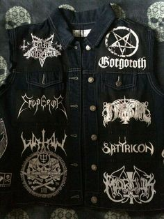 Black Metal, Heavy Metal Girl, Battle Jacket, Emo Outfits, Light Denim, Death Metal, Alternative Fashion, Vest Jacket, Black Denim