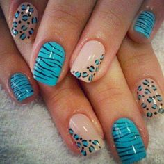 The cheetah nails could be painted in variety of colors and designs. Check out the collection of cute nail art design inspired exotic fashion style. Cheetah Nail Designs, Cheetah Nails, Cute Nail Designs, Blue Nails, Nail Designs 2014, Zebra Nail Art, Animal Nail Designs, Pretty Designs, Cute Nail Art