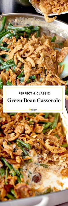 How To Make THE BEST Classic Green Bean Casserole Recipe from scratch. NO cans here, which makes it slightly more healthy. Perfect for Thanksgiving, and easy to make too! We like to use frozen green beans, lots of fresh mushrooms, and other tasty whole ingredients that your family will absolutely love. Sides and side dishes like this are classic must haves! Homemade is best.