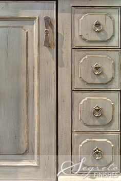 Painted gray. Distressed & glazed finish by Segreto