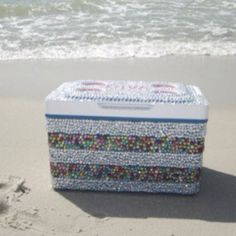 Bedazzled cooler? HOW DID I NOT THINK OF THIS?  I pretty sure Mrs. Hubbard doesn't have one like this one!  But we can make one!!!!!!!!!!