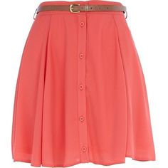 River Island Coral chiffon button through skater skirt   ❤ liked on Polyvore (see more red skater skirts)