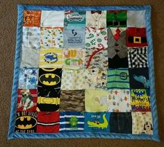 Newborn baby clothes turned into a quilt