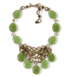 "Kiam Collection Prasino Necklace - Adjustable 16-19"" Necklace  Genuine jade blends beautifully with milky green glass beads and cut crystals in this statement-making bib necklace. $184"
