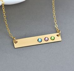Birthstone Bar Necklace Name Necklace Engraved Bar by MalizBIJOUX