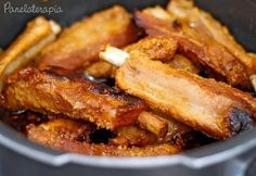 Spareribs with Orange and Honey- Orange and Honey Ribs – Panelaterapia - Chef Recipes, Pork Recipes, Cooking Recipes, Healthy Recipes, I Love Food, Good Food, Yummy Food, Salty Foods, Portuguese Recipes
