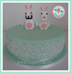 Wedding cake mint whit white sugarlace and ravin rabbids as topper Mint Wedding Cake, Wedding Cakes, Baking, Desserts, Food, Wedding Gown Cakes, Tailgate Desserts, Deserts, Bakken