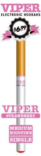 Viper Disposable E-hookah with Soft-tip. Longest Lasting Electronic Hookah Pen / Stick Available. (Strawberry Hookah) by Viper E-Hookah, http://www.viperecig.com/disposable-electronic-hookah-flavors/soft-tip-disposable-800-puff-electronic-hookah-singles/strawberry-medium-nicotine-electronic-cigarette.html