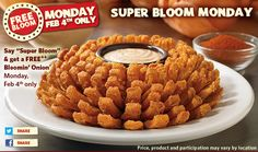 Outback Steakhouse - Free Bloomin Onion {Today Only!} - http://www.livingrichwithcoupons.com/2013/02/free-bloomin-onion-outback-steakhouse.html