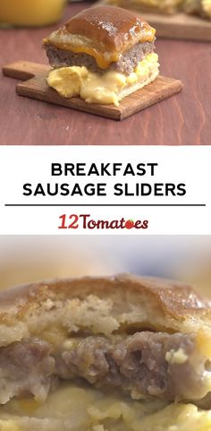 Breakfast Sausage Sliders - - These will surely brighten your day. Breakfast Slider, What's For Breakfast, Sausage Breakfast, Breakfast Dishes, Breakfast Casserole, Breakfast Recipes, Gourmet Recipes, Cooking Recipes, Muffins