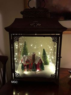 Cheap and Easy Dollar Store Christmas Decorating Ideas – Winter Scene Lantern : Create some awesome Christmas decorations for your home this festive season with a winter scene in a jar or lantern. You can buy all the supplies you need at your local dollar Lantern Christmas Decor, Christmas Table Centerpieces, Rustic Christmas, Xmas Decorations, Simple Christmas, Vintage Christmas, Christmas Holidays, Christmas Ornaments, Cheap Christmas