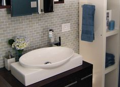 Image detail for -... Blend Mini Glass Subway Tile Bathroom Vanity - Mosaic Tile Warehouse.  color in bigger tiles