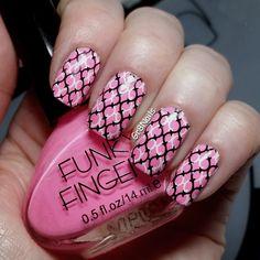 """Nail art with Born Pretty nail stamping plate BP-L003  Funky Fingers polish """"Lazer Pink"""""""