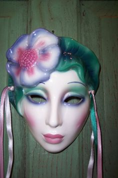 Clay Art San Francisco Wall Art Pottery Face Mask Hibiscus Flower Girl