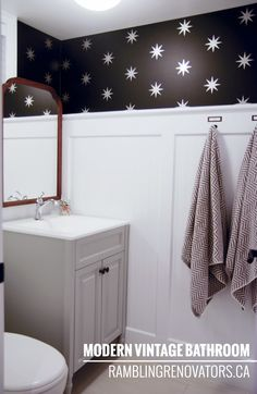 Rambling Renovators - Modern Vintage Bathroom beadboard   stars   black and white
