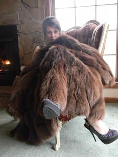 Brown Fox Fur Blanket.