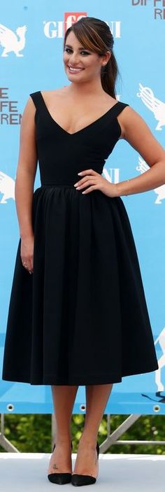 Who made Lea Michele's black dress and pumps that she wore  in Giffoni Valle Piana on July 20, 2014