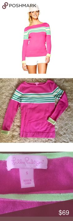 L PULITZER MARIA Boatneck Sweater Classic Colors-S Pink & Green-- the famous color pair for the preppy or Palm Beacher.  And Lilly owns that color  scheme!  It feels very fresh in this Classic Maria Sweater.  She does it in many other shades and stripe patterns- but this pink& green w/ yellow accents (like the bright turn-up cuffs.) is the definitive and by far best selling Maria boatneck.  And it looks fabulous on everyone!. Such clean lines and detail.in a basic hip length sweater!  Worn…