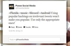 Don't use irrelevant hashtags!!