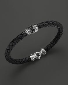 Scott Kay Men's Woven Black Leather Bracelet with Black Sapphire