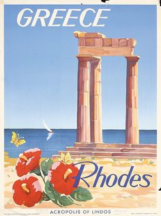 Original 1950s Greece Travel Poster Plakat Rhodes - by PosterConnection Inc.
