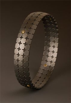 oxidized sterling silver one inch bangle with six diamonds- Maria Samora
