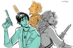I have officially died and gone to fandom heaven - Percy, Annabeth, and Grover as hunters (from SPN)