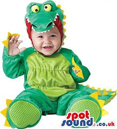 $+  Cute Green And Yellow Dragon Baby Size Plush Costume