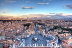 Saint Peter's Square in Vatican City, Piazza San Pietro in Rome, Italy  The final image was created from 3 RAW files (+2, 0, -2ev): Canon EOS 5D Mark II - 24mm - F14 - ISO 100  Post-processing: Camera Raw -> Photomatix Pro -> Photoshop