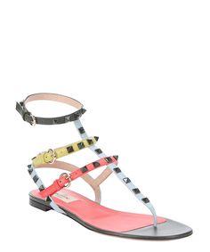 dark coral leather 'Rockstud' triple ankle strap t-strap sandals