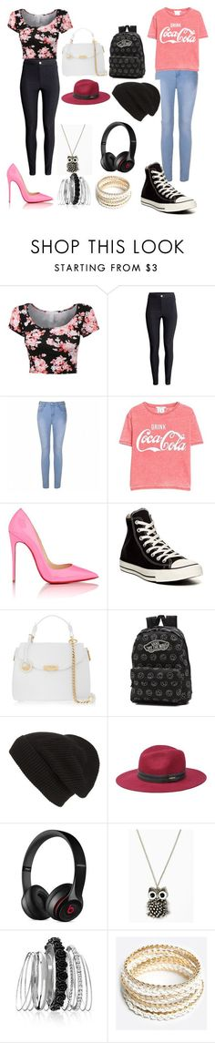 """""""Girly vs tomboy"""" by briannaespana ❤ liked on Polyvore featuring H&M, Ally Fashion, MANGO, Christian Louboutin, Converse, Versace, Vans, Phase 3, Bebe and Beats by Dr. Dre"""