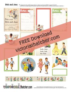 Free Retro Fun with Dick and Jane Planner Stickers