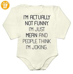 I'm Actually Not Funny, I'm Just Mean And People Think I'm Joking Baby Long Sleeve Romper Bodysuit Extra Large - Baby bodys baby einteiler baby stampler (*Partner-Link)