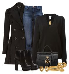 """""""BURBERRY COAT"""" by arjanadesign ❤ liked on Polyvore featuring Burberry, J Brand, Tomas Maier, Gucci, Forever 21, Bold Elements, Versace, Linda Lee Johnson and True Rocks"""