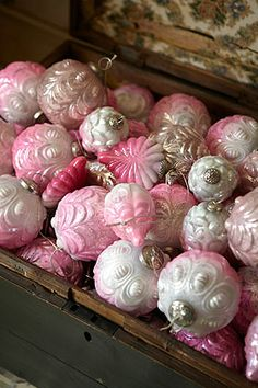 Pink Glass Christmas Decorations  via Nancy Joyes