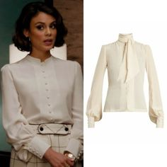 Cristal Flores wears this Talitha crepe de chine blouse on Dynasty 1x10