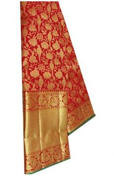 Red Handloom Kanjeevaram Pure Silk Floral & Bird Design Saree Banarasi Sarees, Bird Design, Sarees Online, Pure Silk, Outdoor Blanket, Pure Products, Floral, Red, Stuff To Buy