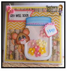 Get Well Card created by PAPER PIECING MEMORIES BY BABS. Patterns by Little Scraps of Heaven Designs and My Scrap Chick.