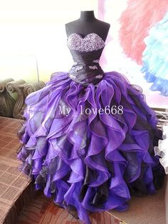 Formal Prom Evening Party Purple Quinceanera Pageant dress Color Wedding dress