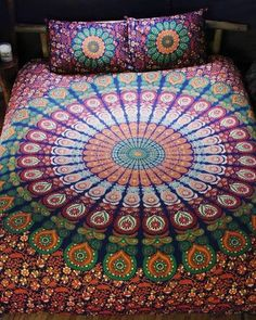 Bohemian Indian Queen Size Bedding 3 Piece Set Mandala Boho Hippie Bedspreads Tapestry and 2 Pillow Cases - Free Shipping     Description  Mesmerizing medallion bohemian tapestry 3 piece Queen bed set crafted in soft woven cotton from Magical Thinking. Instantly adds a unique touch of boho charm to any living space or dorm room.