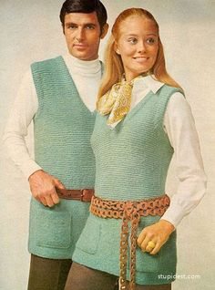 His 'n' hers knit vest fashions, 1970s. I do believe that is Cybil Shepard in her modeling days.