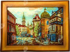 Купить панно из янтаря «Львов Площадь Рынок с улицы Катедральной» Интернет магазин картин для интерьера ТМ Янтарь Полесье