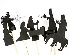Check out these great Christmas Nativity Shadow Puppets -Kids imaginative and creative play. #christmas #shadowplay #shadowpuppets $40